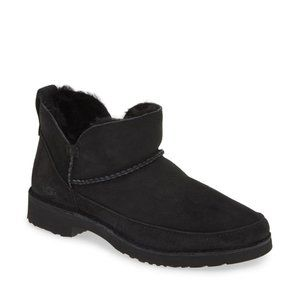 UGG Melrose Suede Shearling Bootie Black Boots NEW